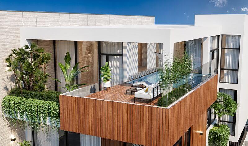 thiết kế vườn trên sân thượng